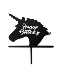 Unicorn head cake topper Black Happy birthday