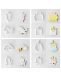 Unicorn set 8 fondant or mini cookie cutters