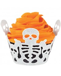 Skeleton Halloween cupcake wrappers 18 pack