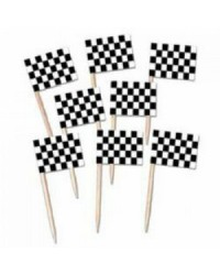 Black & white check racing car flag picks (50)