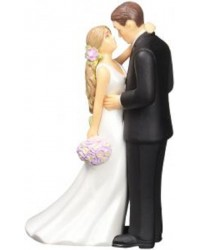 Bride and Groom wedding cake topper Long Haired Bride