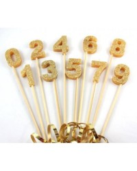 Long wooden pick candle Number 0 Gold Glitter