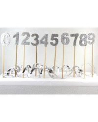Long wooden pick candle Number 6 Silver Glitter
