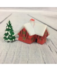 Christmas cottage with tree cake topper