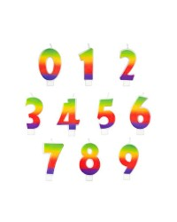 Rainbow numeral candle Number 0