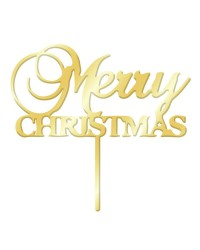 Merry Christmas Gold mirror acrylic cake topper