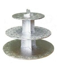 image: 3 tier Silver cardboard cupcake stand