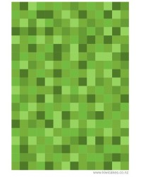 A4 Edible icing image PIXELLATED SQUARES Medium green