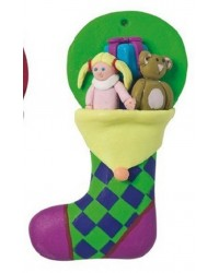 Christmas stocking claydough cake topper Green with dolly & teddy