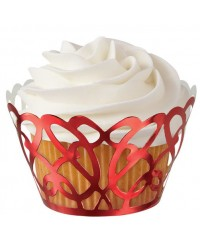 Red metallic filigree lace scrolls cupcake wrappers