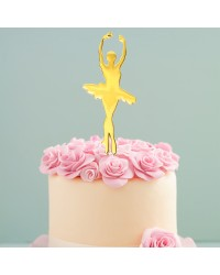 Ballerina Gold metal cake topper