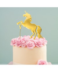 Gold Metal unicorn cake topper