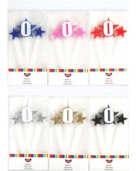 Number Star Pick candle set with Numeral 0 Pink