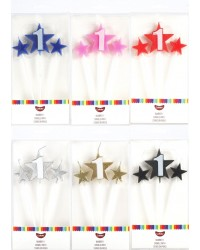 Number Star Pick candle set with Numeral 1 Silver