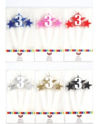 Number Star Pick candle set with Numeral 3 Blue