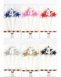 Number Star Pick candle set with Numeral 4 Red