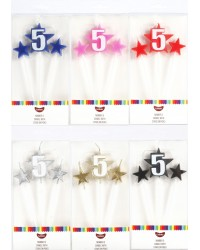 Number Star Pick candle set with Numeral 5 Blue
