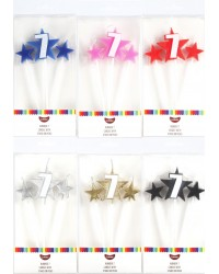 Number Star Pick candle set with Numeral 7 Gold