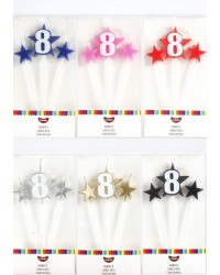 Number Star Pick candle set with Numeral 8 Blue