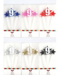 Number Star Pick candle set with Numeral 9 Blue