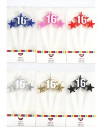 Number Star Pick candle set with Numeral 16 Gold