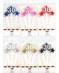 Number Star Pick candle set with Numeral 30 Blue