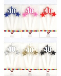Number Star Pick candle set with Numeral 40 silver
