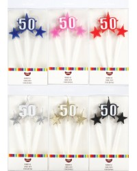 Number Star Pick candle set with Numeral 50 Red
