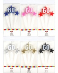 Number Star Pick candle set with Numeral 60 Gold