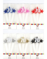 Number Star Pick candle set with Numeral 70 Red
