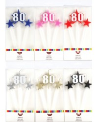 Number Star Pick candle set with Numeral 80 Red