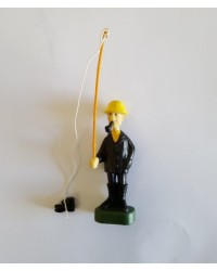 Fisherman cake topper figurine fishing for boot
