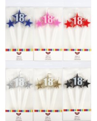 Number Star Pick candle set with Numeral 18 Blue