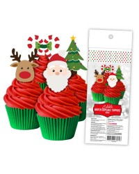 CHRISTMAS EDIBLE WAFER PAPER CUPCAKE TOPPERS 16 PIECE PACK