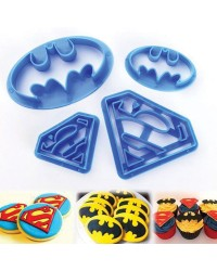 Batman and Superman logo cookie cutter set of 4