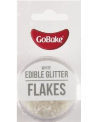 GoBake Edible Glitter Flakes White
