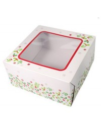 Christmas holly cake box 8 inch square