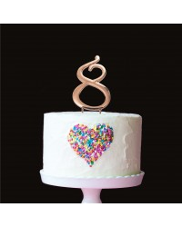 Rose Gold metal numeral 8 cake topper pick