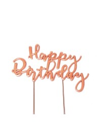 Rose Gold Metal Happy birthday pick topper