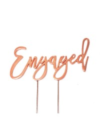 Rose Gold metal Engaged cake topper