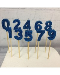 Long wooden pick candle Number 3 Blue Glitter