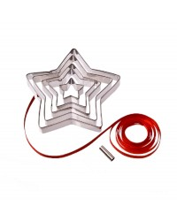 Nesting star cookie cutter set for Christmas ornaments (with hole cutter)