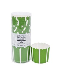 Green stripe straight sided baking cups cupcake papers