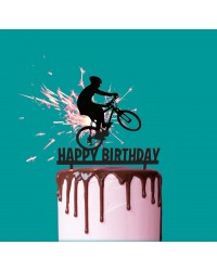 Biker on Bicycle Black Acrylic Cake Topper