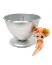 Dolly Varden cake tin pan set with cute doll pick