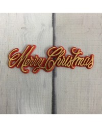 Merry Christmas Red and gold script plaque topper