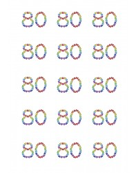 Design Sheet edible images 80th Birthday No 80 Rainbow Hearts