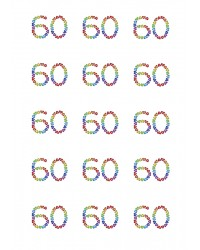 Design Sheet edible images 60th Birthday No 60 Rainbow Hearts