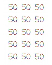 Design Sheet edible images 50th Birthday No 50 Rainbow Hearts