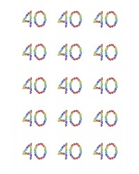 Design Sheet edible images 40th Birthday No 40 Rainbow Hearts